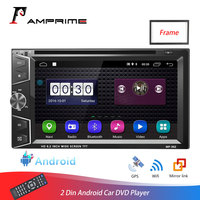 AMPrime Car Radio 2 din Android DVD/CD Quad Core Bluetooth Car Multimedia Player GPS Navigation Mirror link Auroradio With Frame