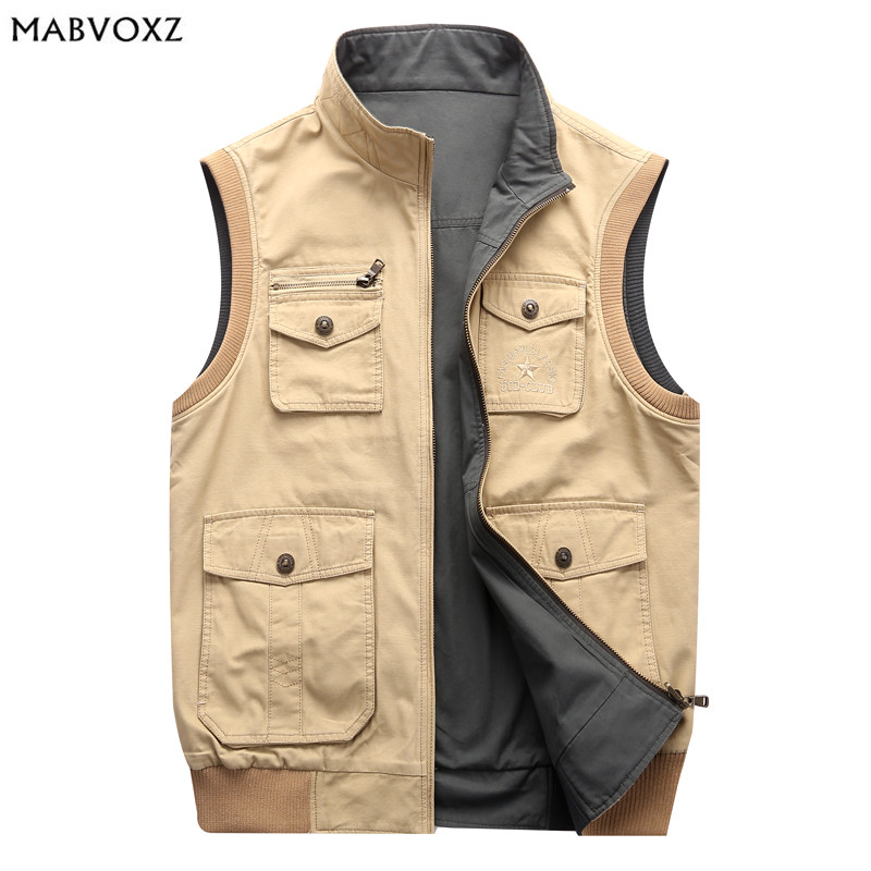 ece17973125 Detail Feedback Questions about AFS JEEP Reversible Men Cargo Vests Jackets  PLus Size Loose Leisure Male Vest Big Pockets Design New 2018 New Brand on  ...
