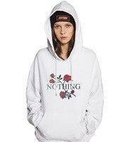 RC S SECRET Hot Sale Women Nothing Letter Print Rose Sweatshirts Winter Casual Hoodies Sweatshirts White
