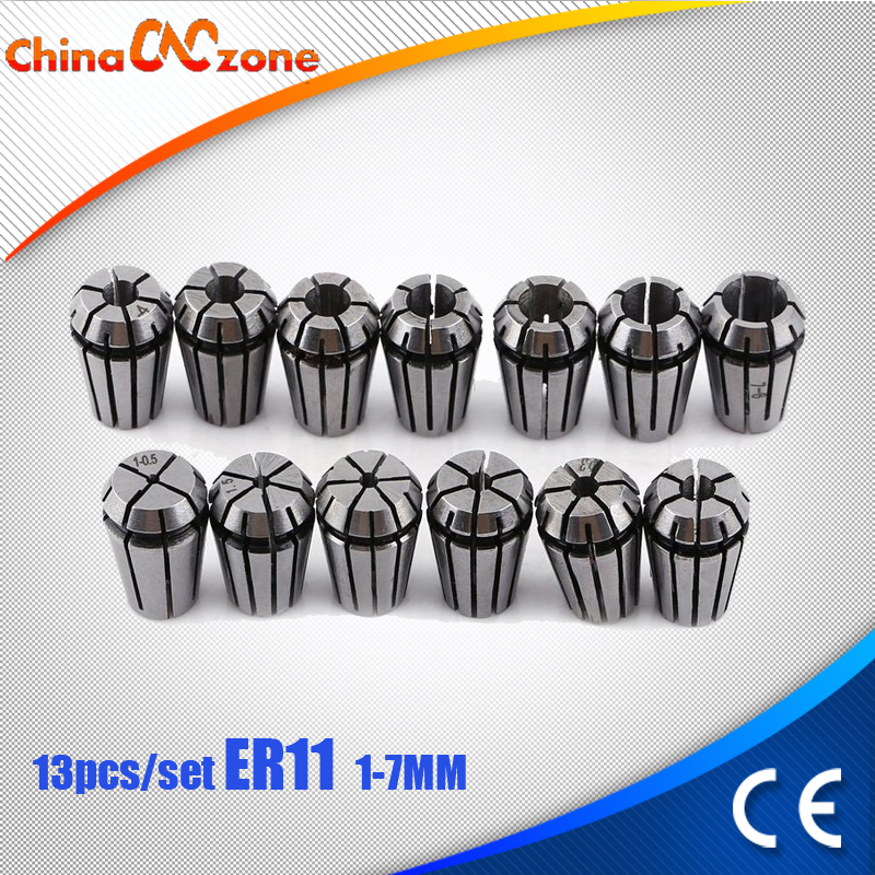 13pcs ER11 Collet Chuck Set 1mm to 7mm for CNC Milling Lathe Tool Engraving Machine Spindle Motor cnc 5axis a aixs rotary axis t chuck type for cnc router cnc milling machine best quality