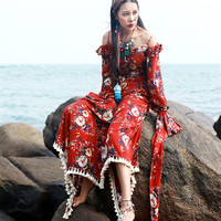 Free Shipping 2018 Red Spring Summer New Fashion Chiffon Irregular Dresses With Tassels For Women Long Sleeve Maxi Dresses S L