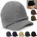 New Unisex Knitted Wool Beanie Hat Men Ladies brim hats Peaked Warm Winter Casual Outdoor Cadet Ski Skullies Cap bone feminino