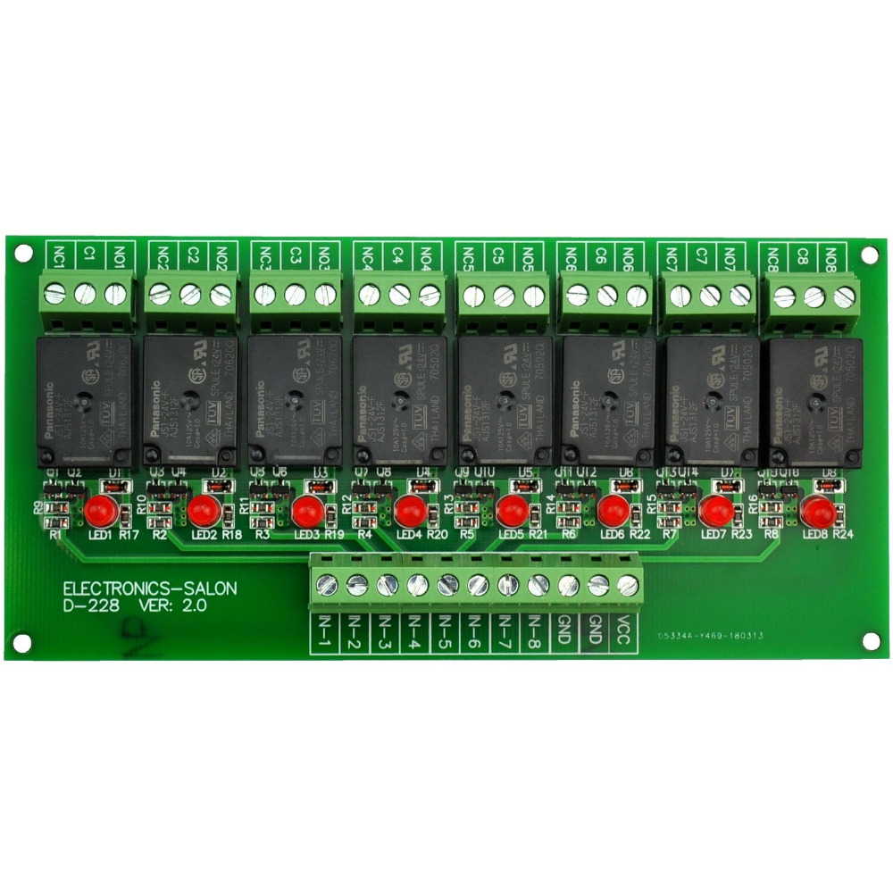 Electronics-Salon 8 Channel 10Amp SPDT Power Relay Module Board (Operating Voltage: DC 24V)Electronics-Salon 8 Channel 10Amp SPDT Power Relay Module Board (Operating Voltage: DC 24V)