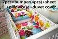 Promoção! 6 / 7 PCS conjunto de cama dos desenhos animados berço cama conjunto para meninas, 120 * 60 / 120 * 70 cm