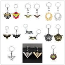 Marvel jewelry Wonder Woman Keychain The Avengers Captain Shield Key Chain Women Men Car Keyring Gift Pendant