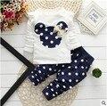 2016 nueva Primavera Otoño ropa niños niñas establece minnie mouse ropa arco tops la camiseta de las polainas pantalones del bebé niños 2 unids traje