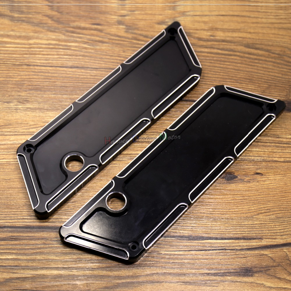 Black Beveled Saddlebag Latch Covers For Harley Touring Street Glide Road King FLHX FLHR FLHT 93-13