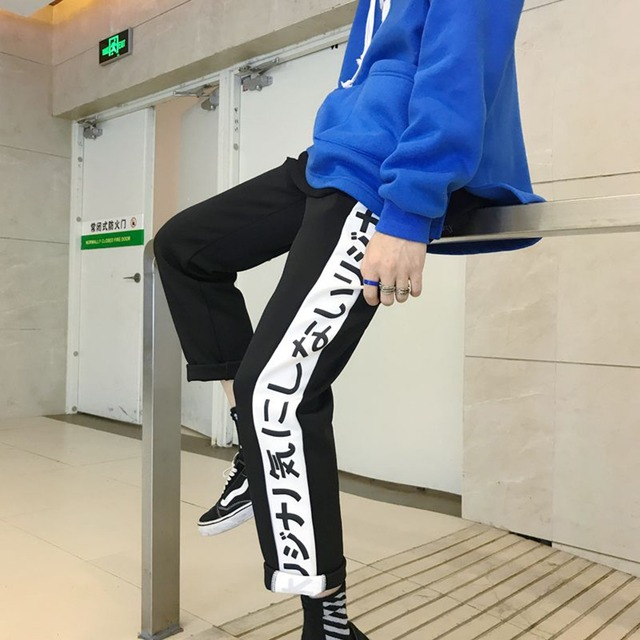 New Harajuku Letters Printing Casual Pants Women Japanese Elastic High Waist Pants Korean Ulzzang Street Fashion Trousers 5