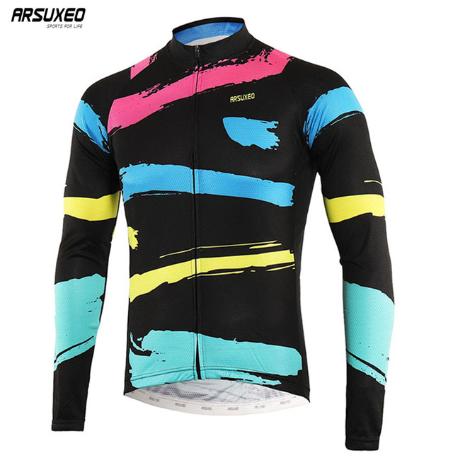 c812ea1060a ARSUXEO 2018 Sports Cycling Jersey Spring Summer Bicycle Cycling Clothing  Long Sleeve MTB jersey Shirt Bike