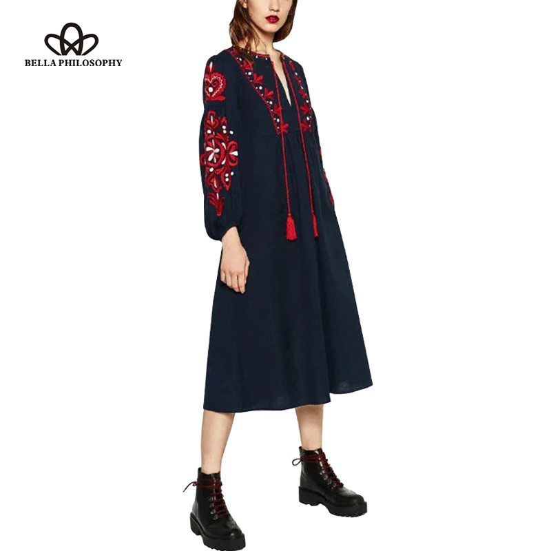 Bella Philosophy 2016 autumn winter retro folk custom embroidery tassels bowknot embroidered lantern sleeves long sleeved