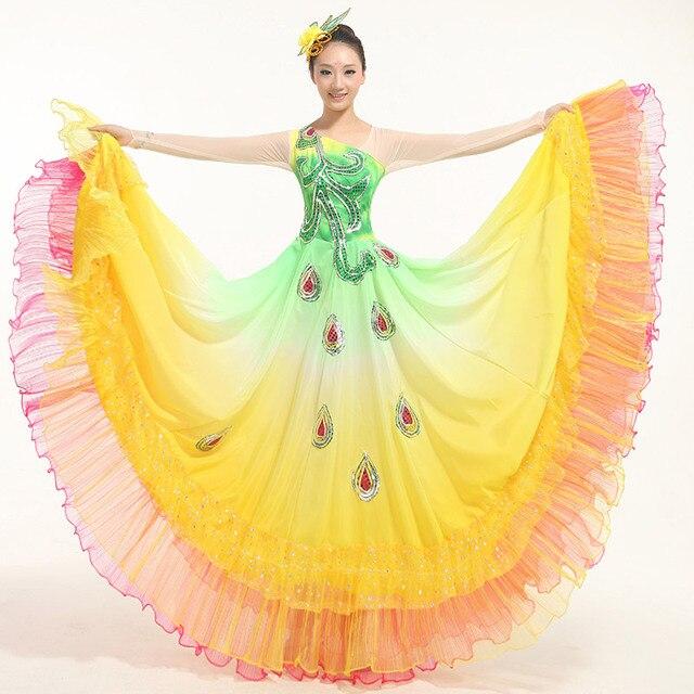 4bdcb8b9e1b4 New Sequined Pavaner Costume Peacock Dance Big Expansion Skirt ...