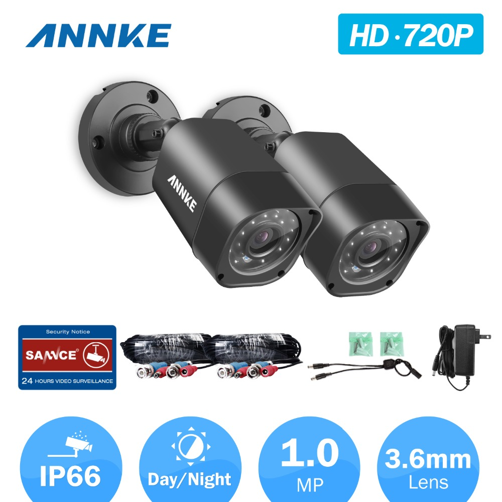 ANNKE 720P CCTV Security Cameras 2PCS 1280*720P 1.0MP waterproof IR outdoor 1500TVL surveillance Camera for home Camera System