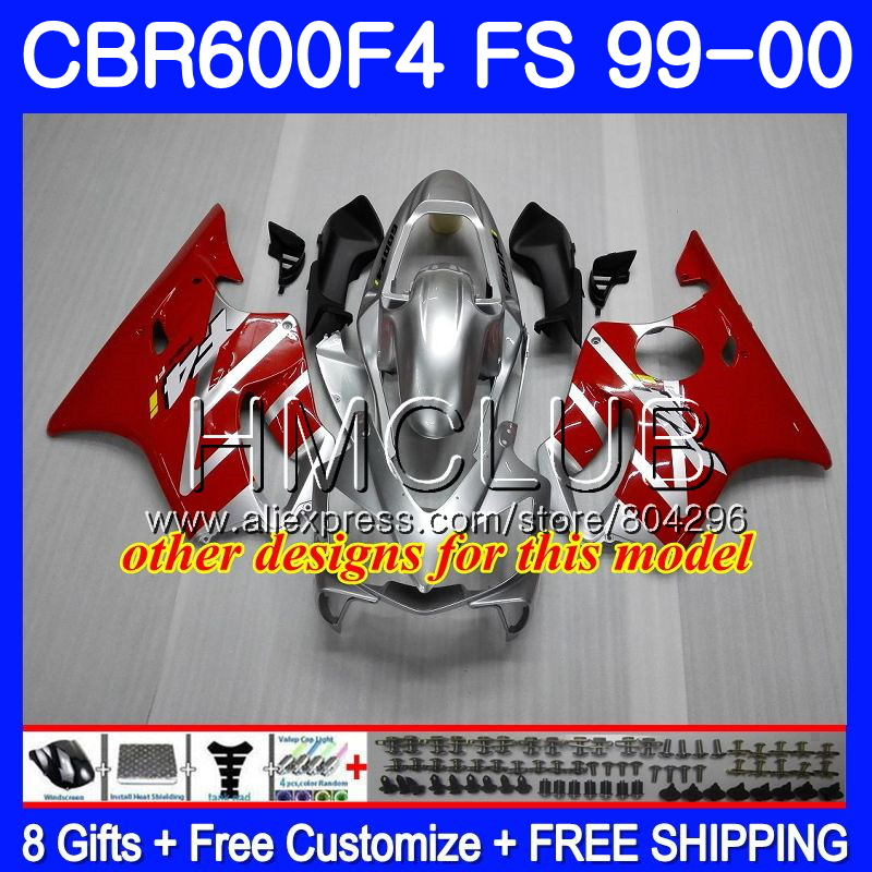 Carrosserie Pour HONDA CBR600F4 CBR600 F 4 RR CBR600 F4 99 00 60HM17 CBR 600F4 CBR 600 FS Chaude blanc blk CBR 600 F4 1999 2000 Carénage - 4