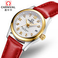 Карнавал модные автоматические часы для женщин календари Regalos para mujer Роскошные деловые часы кожа HD световой сапфир