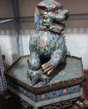 28 «Китай Дворец Старый Бронза Медь Перегородчатые Свинка Фу Фу Собака Злой Хранитель Лев