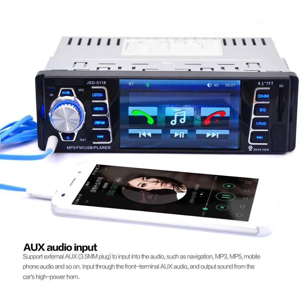 5118 DC12V 4.1inch 50W x 4CH Bluetooth 1 DIN Car In-Dash Stereo Audio - Avtomobil elektronikası - Fotoqrafiya 6