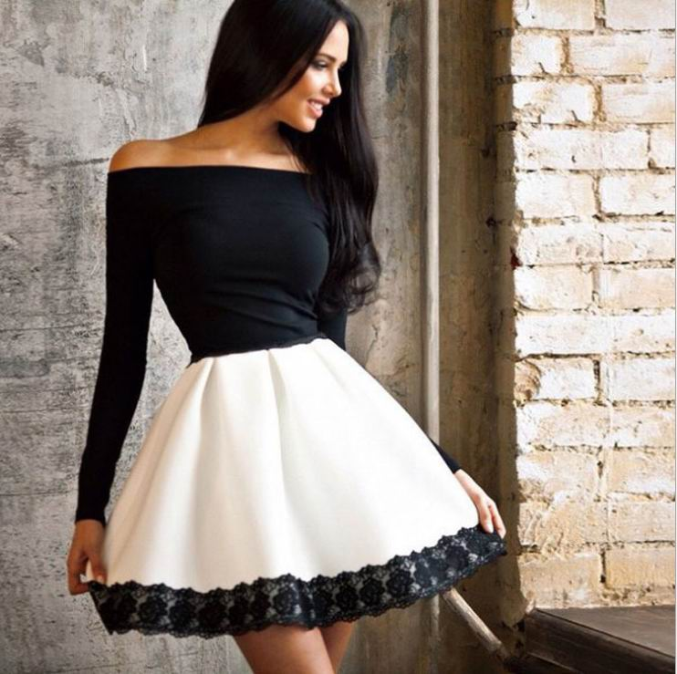 Fashion Black <font><b>Dress</b></font> Casual <font><b>A</b></font> <font><b>Line</b></font> Full Sleeve <font><b>Slash</b></font> Neck Mini Women <font><b>Dresses</b></font> 3S2441 <font><b>Sexy</b></font> Party <font><b>Dresses</b></font> Women image