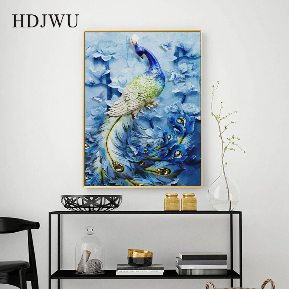 New Chinese Peacock Magnolia Canvas Printing Wall posters Art Home Decorative Wall Painting for Living Room DJ253 in Painting Calligraphy from Home Garden
