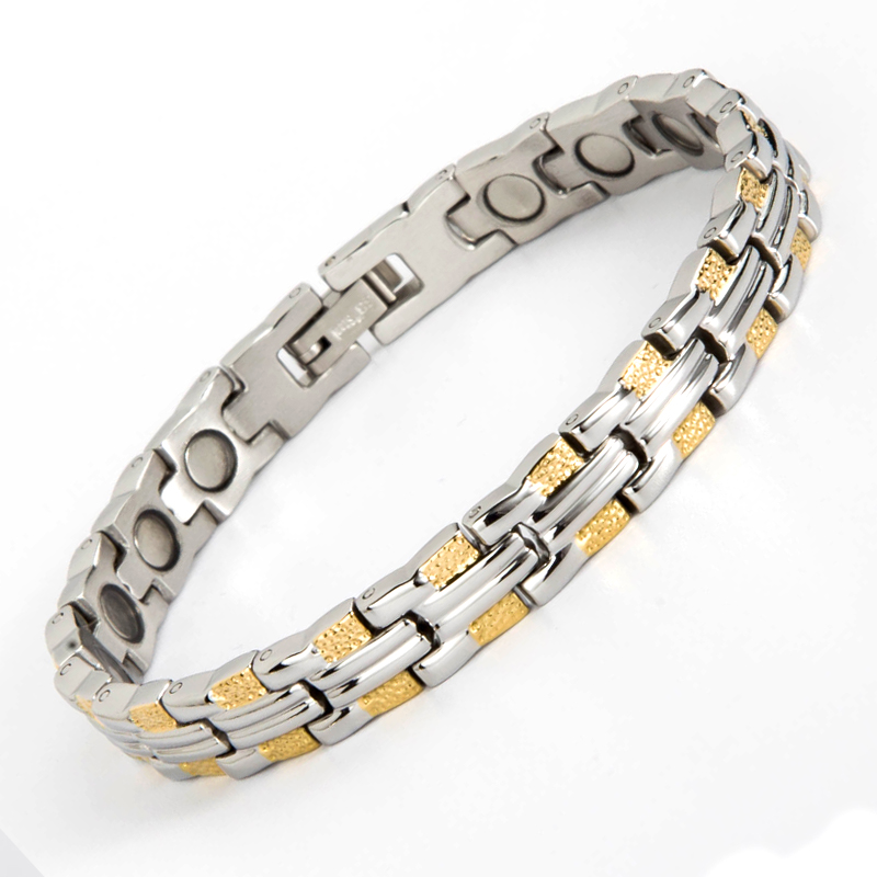 High Quality! Stainless steel magnetic bracelets health pulceras for women and men plated with gold bangle Jewelry