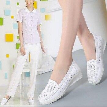 Chaussures D'allaitement Blanc   Taomengsi Printemps Automne Infirmière Chaussures En Cuir Blanc Pente Et Vache Tendon Semelles Confortable Femme Tête Ronde Unique Chaussures 35-41