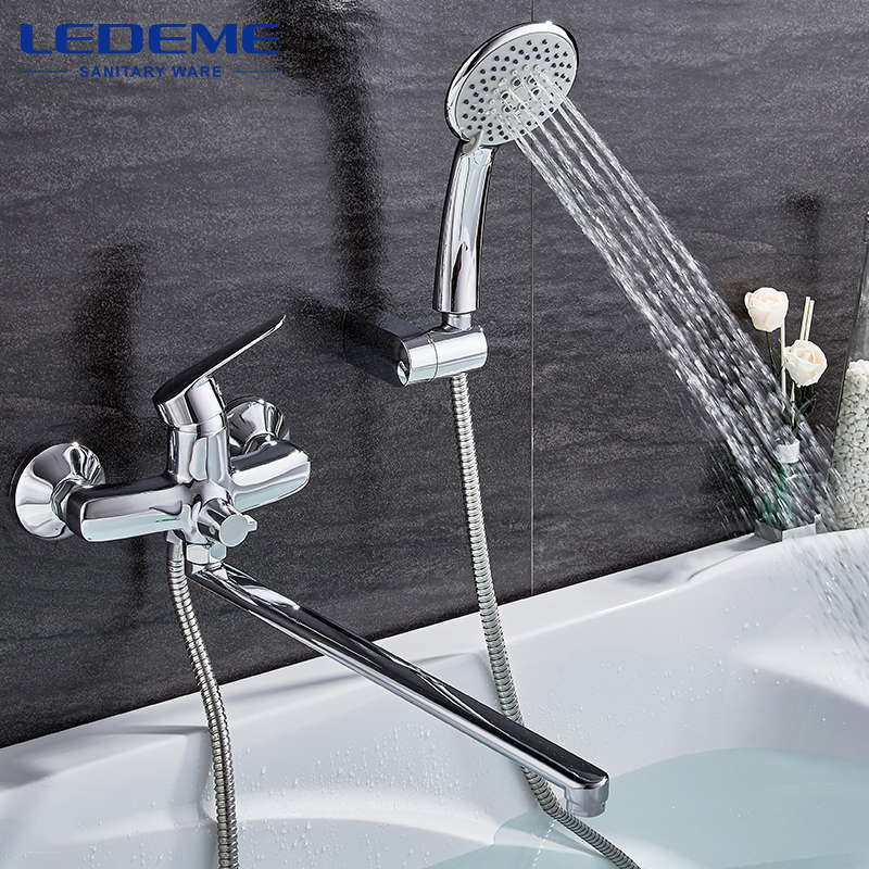 LEDEME Modern Style 1 Set Bathroom Faucet Chrome Finish Brass Cold and Hot Water Mixer Chrome Finished Tap Single Handle L2251 chrome plated modern handle c c 192mm l 218mm h 23mm drawers cabinets