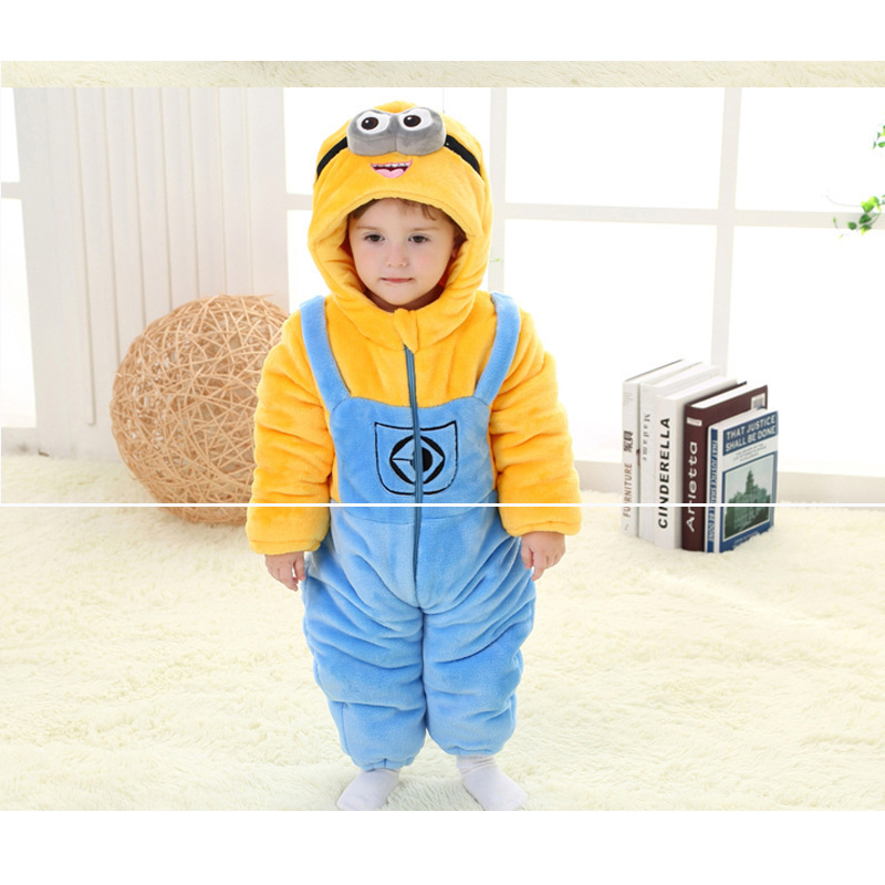 aded9af166e4 Minions winter overalls for the boys baby girls thick rompers full sleeve  hoody baby snowsuit clothes 8 months-4 years