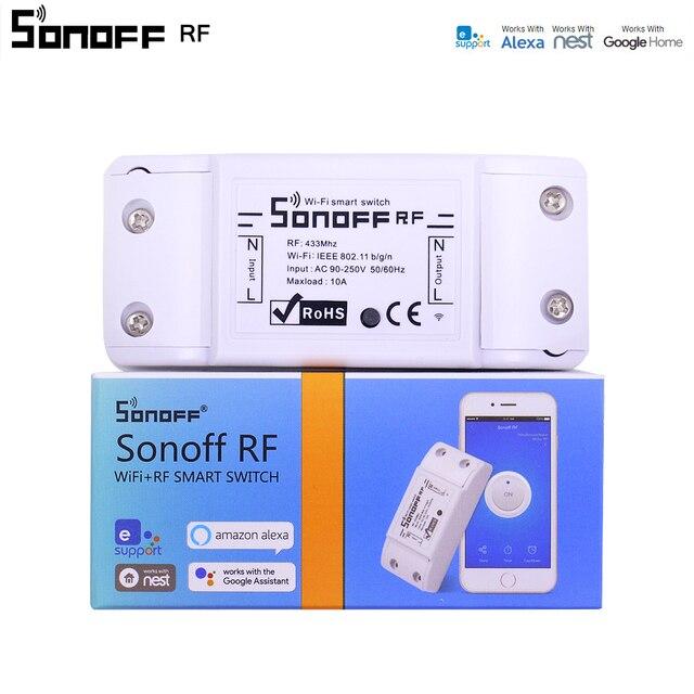 Itead Sonoff RF WiFi interruptor inalámbrico 433 MHz receptor control remoto DIY Smart Home Automation módulos de relé temporizador AC 90 -250 V