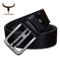COWATHER Alloy Pin Buckle 100 Top Cow Genuine Leather Mens Belt For Men Fashion New Design