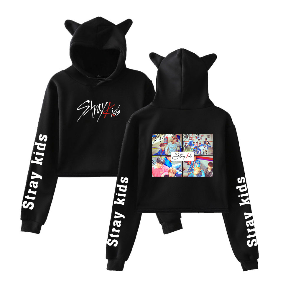 Stray Kids Pullover Sweatshirt Hooded Autumn Long Sleeve Pullover Loose Printed Letters Tops Unisex