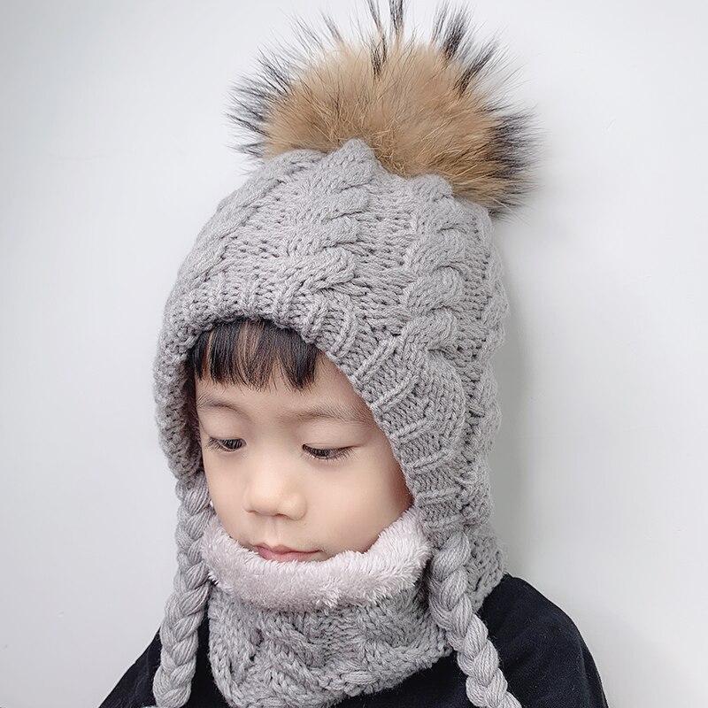 Knitted Hat Crochet-Cap Fur Pompom Ear-Protection Beanie Kids Fleece Warm Inside Baby