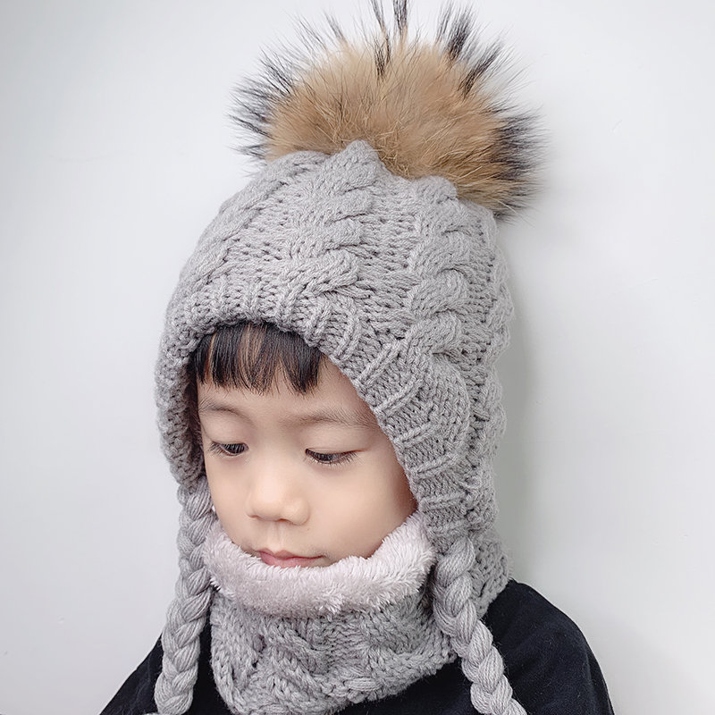 Fur Pompom   Beanie   Kids Baby Winter Hat Fleece Inside Ear Protection Crochet Cap Warm Knitted Hat And Scarf Set For Children
