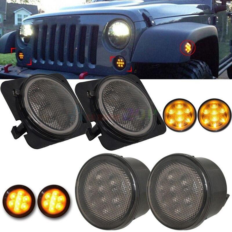 Couleur : 2xfender Signal NO LOGO FJJ-DENG LED Avant Clignotant Lumi/ère for Jeep Wrangler JK 2007-2015 Blanc DRL Amber Light Fender Combo Kit c/ôt/é Lumineux for Jeep Wrangler