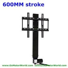 Автоматическая ТВ Лифт ТВ стенд ТВ крепления 110-240V входное напряжение переменно тока 600 мм 24 дюйма хода с пультом дистанционного управления и контроллер и установки гимнастических колец
