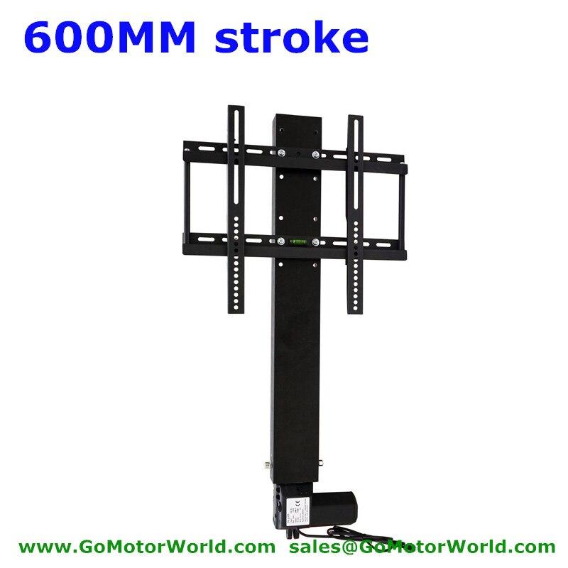 Automatique TV ascenseur TV support TV monte 110-240 V AC entrée 600mm 24 pouces course avec télécommande et le contrôleur et les pièces de montage