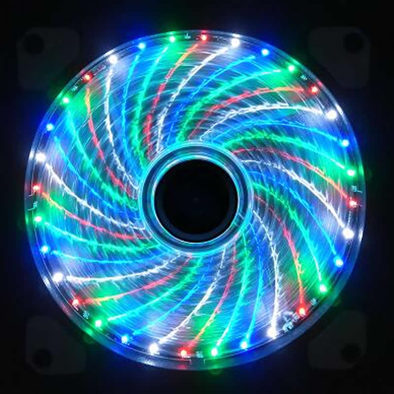 Cool !!! 15 LED 33LED 12cm 120mm Cooler cooling fan silent fan Blue Green Red White color Light Guide Ring 2017 Promotion