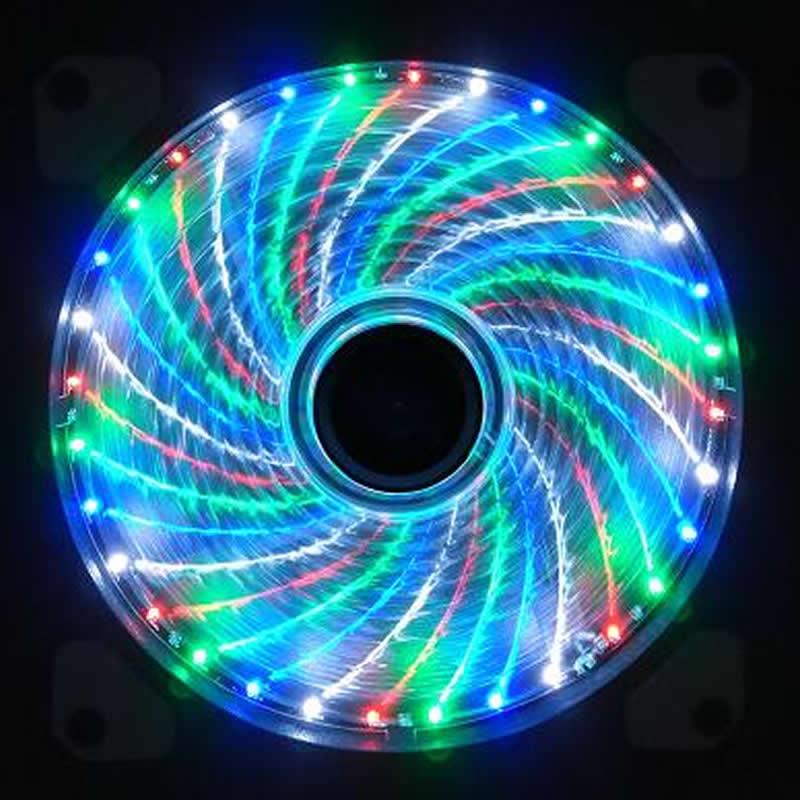 Cool !!! 15 LED 33LED 12cm 120mm Cooler cooling fan silent fan Blue Green Red White color Light Guide Ring 2017 Promotion blue guide southwest france 3e
