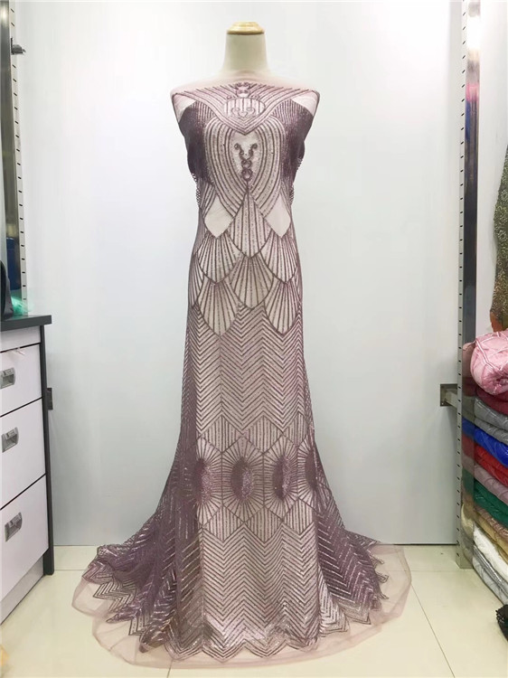 2019 Popular French Net White / Purple Lace Fabric,High Quality African Tulle Elastic Lace Fabric with Upscale Sequins Wedding(J