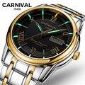 Карнавальные Мужские автоматические механические часы с двойной датой  светящиеся стрелки  водонепроницаемые наручные часы с ремешком из ...