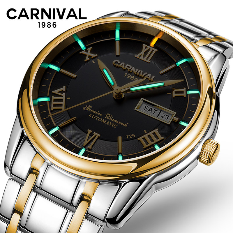 CARNIVAL Mens Automatic Mechanical Watches with Double Date,Luminous Hands,Waterproof Stainless Steel Strap Wristswatch for ManCARNIVAL Mens Automatic Mechanical Watches with Double Date,Luminous Hands,Waterproof Stainless Steel Strap Wristswatch for Man