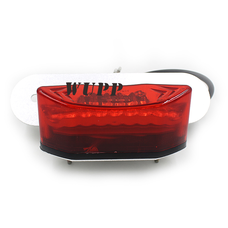 WUPP Universal Red Lens Motorcycle Tail Light 12V Running Brake License Plate For Harley Red Led Indicator Turn Signal Flasher