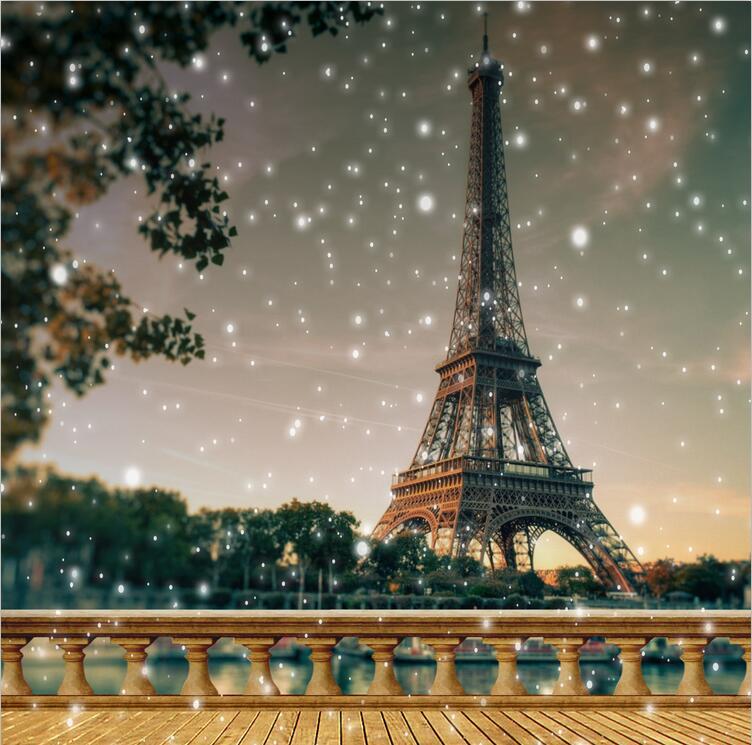 200x300 cm tour Eiffel mariage Photo arrière-plans Woodbridge flocon de neige arbres romatique saint valentin décors