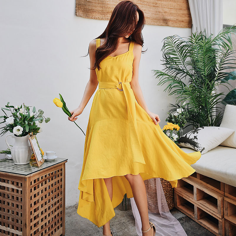Women's Clothing Qualified Dabuwaw Summer Yellow Swing Maxi Dress Women Girls 2019 New Sleeveless Asymmetrical Strap Long Party Vest Dresses Dn1bdx003