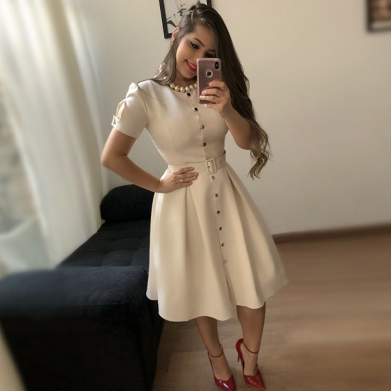 2019 Front Buttons Dress Short Sleeve Women Pleated Dresses Fashion Vintage Midi Vestidos Casual