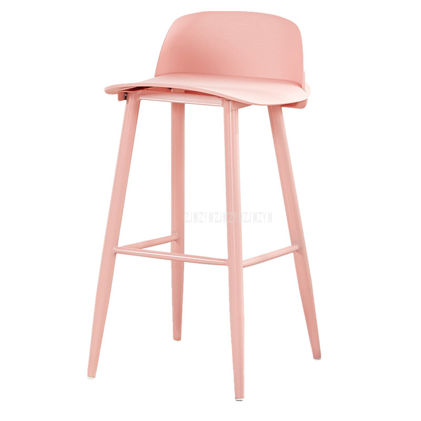 Cool Simple European Style Modern Bar Chair With 4 Legs 60Cm 65Cm 75Cm Height Iron Solid Wood High Footstool Barstool With Backrest Bralicious Painted Fabric Chair Ideas Braliciousco