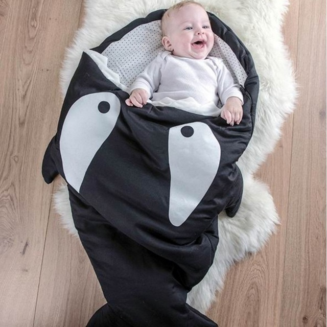 New baby sleeping bag  autumn winter kid shark  grobag package soft sack infant strollers bed swaddle blanket wrap warm