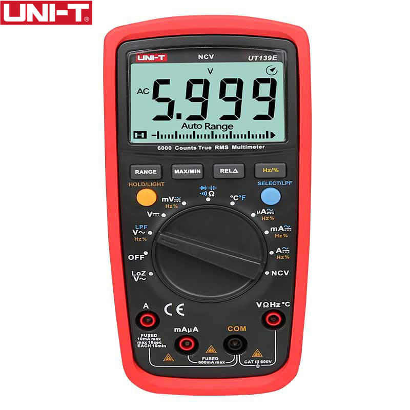 UT139E True RMS цифровой мультиметр Температура зонд ФНЧ фильтр нижних частот LoZ (низкое сопротивление вход) функция/Температура Тесты EB