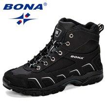 bfa84de64 بونا جديد العصرية تصميم الرجال المشي أحذية المضادة للانزلاق الجبلية تسلق  التمهيد في الهواء الطلق رياضية