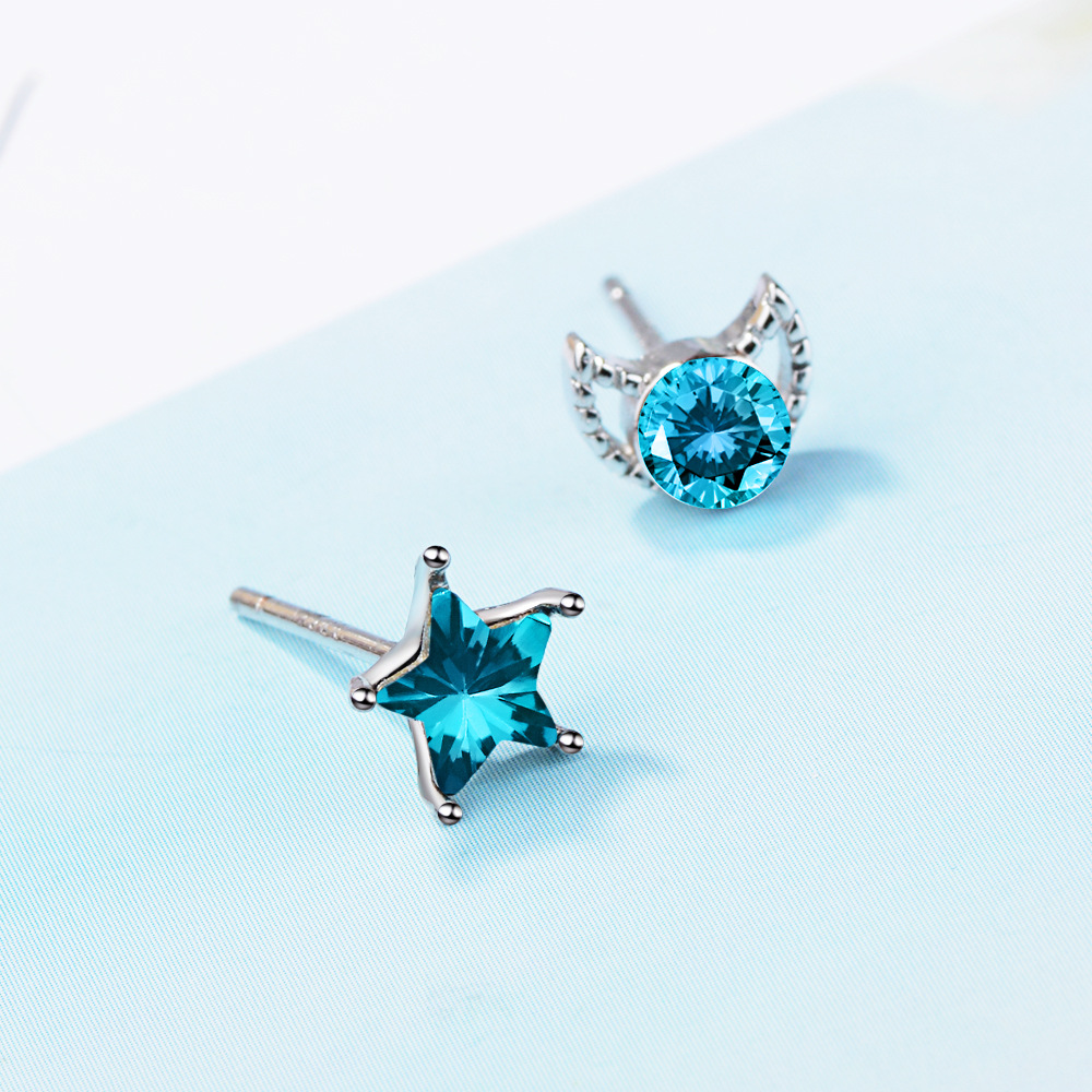 100 925 Sterling Silver Fashion Moon amp Star Blue Crystal Asymmetric Ladies 39 Stud Earrings Female Gift Wholesale Women Jewelry in Stud Earrings from Jewelry amp Accessories