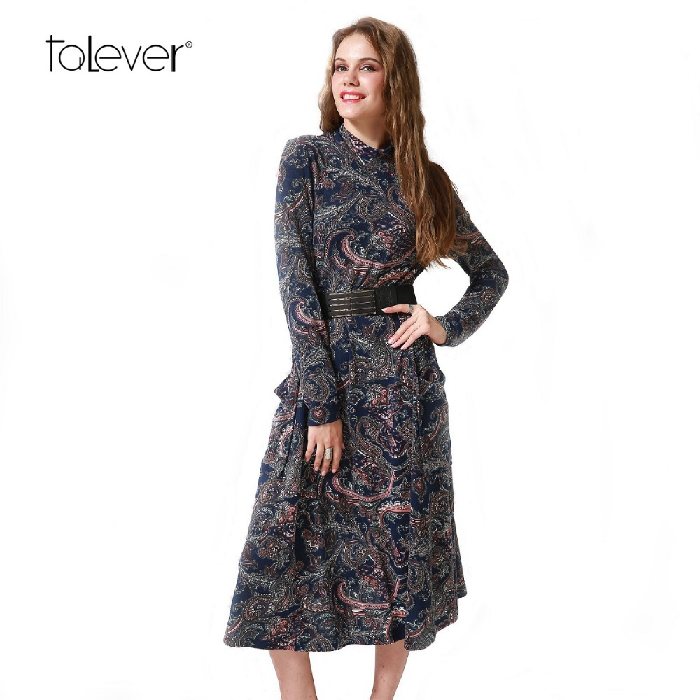 Spring Autumn Women Casual Cashew Flowers Print Dress Brief Turtleneck Loose Dress Pockets Female Sexy Evening