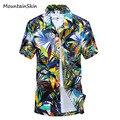 Mountainskin 2017 nuevos hombres del verano camisas de manga corta de playa de moda masculina camisa casual impreso branded men clothing la167
